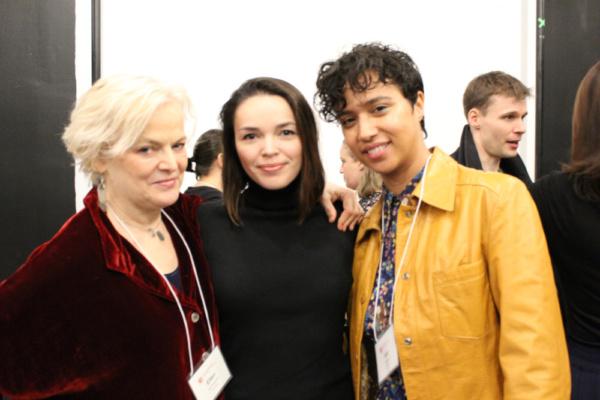 Photo of Playwright Ellen McLaughlin, Zo  Sophia Garcia (Cassandra) and Rad Pereira (Electra) in rehearsal for The Oresteia.