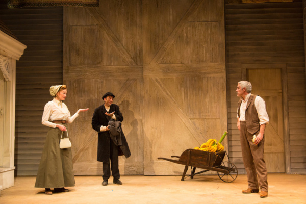 (L to R) Gretchen Hall, Benjamin Pelteson, and R. Ward Duffy in The Immigrant, written by Mark Harelik, conceived by Mark Harelik and Randal Myler, at George Street Playhouse, March 12 - April 7, 2019
