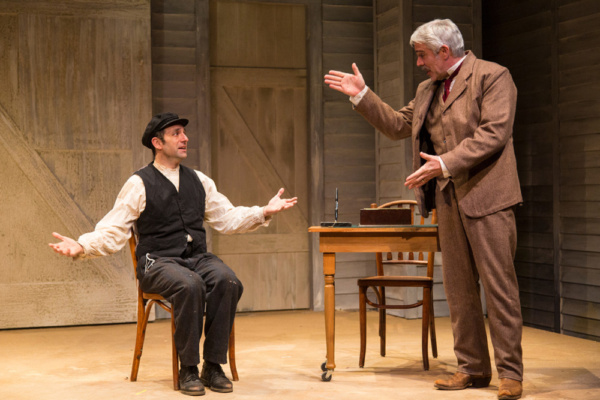 (L to R) Benjamin Pelteson and R. Ward Duffy in The Immigrant, written by Mark Harelik, conceived by Mark Harelik and Randal Myler, at George Street Playhouse, March 12 - April 7, 2019.     Photo by T