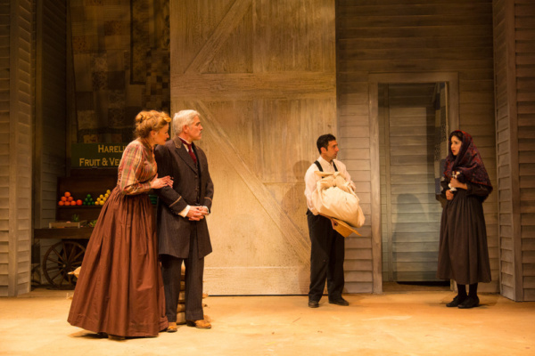 (L to R) Gretchen Hall, R. Ward Duffy, Benjamin Pelteson, and Lauriel Friedman in The Immigrant, written by Mark Harelik, conceived by Mark Harelik and Randal Myler, at George Street Playhouse, March