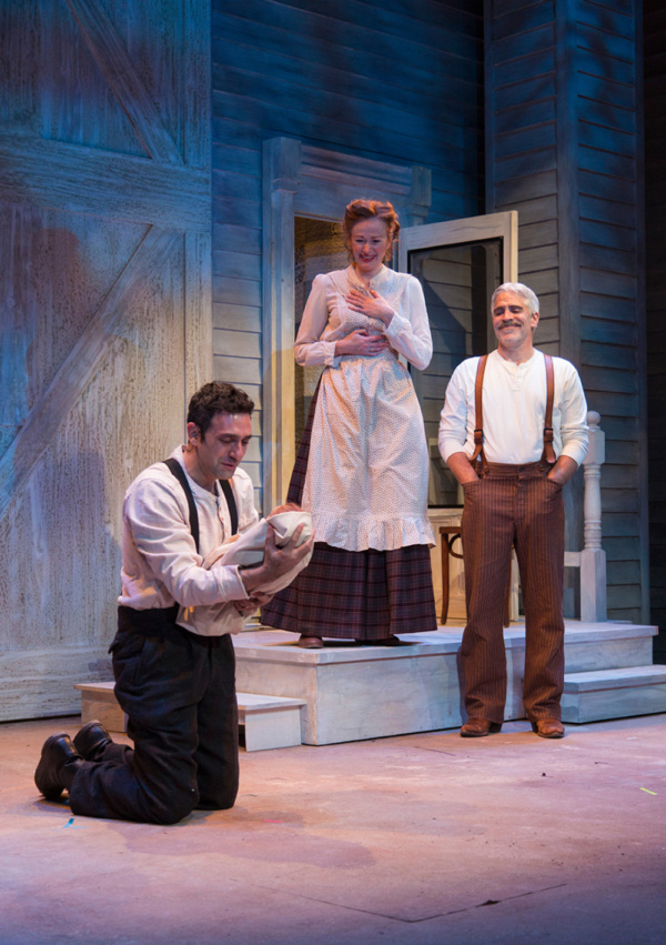 (L to R) Benjamin Pelteson, Gretchen Hall, and R. Ward Duffy in The Immigrant, written by Mark Harelik, conceived by Mark Harelik and Randal Myler, at George Street Playhouse, March 12 - April 7, 2019