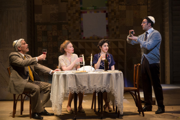 (L to R) R. Ward Duffy, Gretchen Hall, Lauriel Friedman, and Benjamin Pelteson in The Immigrant, written by Mark Harelik, conceived by Mark Harelik and Randal Myler, at George Street Playhouse, March