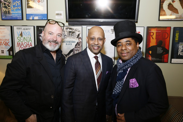 From left, scenic designer Michael Carnahan, creator/performer Ruben Santiago-Hudson and guitarist Chris Thomas King. Photo Credit: Ryan Miller/Capture Imaging