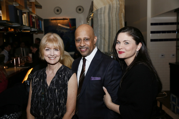 "From left, Jeannie Brittan, creator/performer Ruben Santiago-Hudson and actor Jodi Lyn O'Keefe at the party for the opening night performance of ""Lackawanna Blues"" at Center Theatre Group/Mark Taper Forum on March 13, 2019, in Los Angeles, California. (Photo by Ryan Miller/Capture Imaging)"