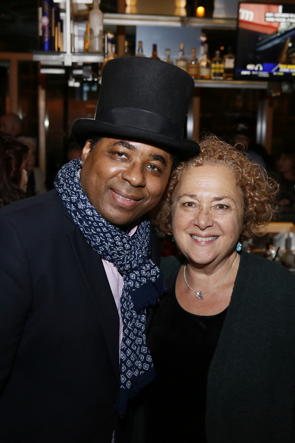 From left, guitarist Chris Thomas King and Center Theatre Group General Manager Nausica Stergiou