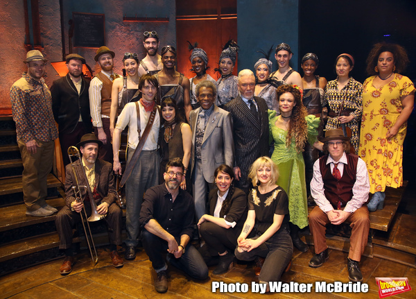 """Reeve Carney, Eva Noblezada, Andre de Shields, Patrick Page, Amber Gray, David Neumann, Anais Mitchell and Rachel Chavkin with the cast during the Broadway Press Performance Preview of """"Hadestown""""  at the Walter Kerr Theatre on March 18, 2019 in New York"""