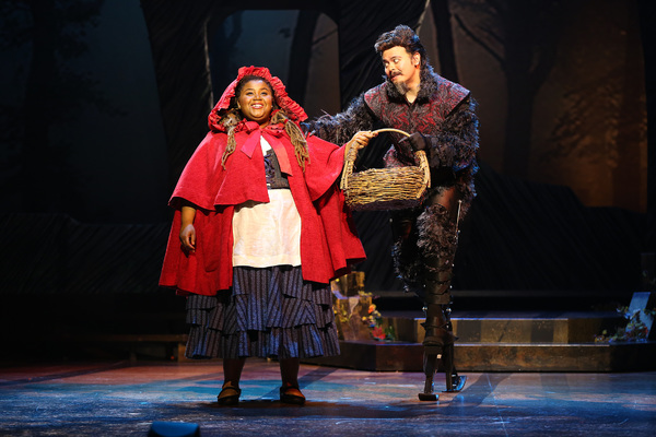 Jade Jones as Little Red Ridinghood and Christopher Mueller as First Wolf