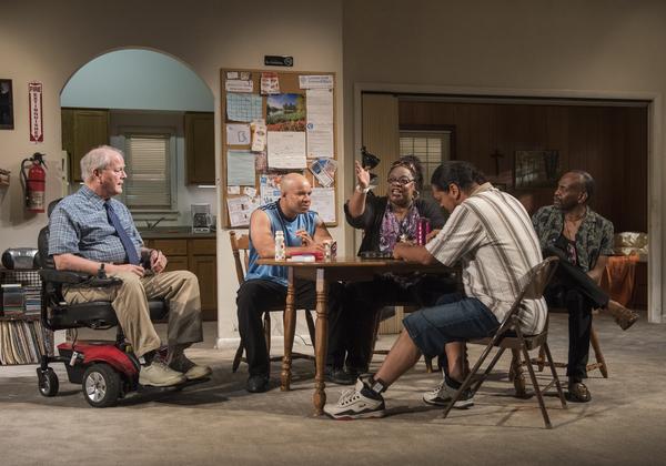 Francis Guinan (Fred), ensemble member Glenn Davis (Gio), Celilia Noble (Ivy), Eddie Torres (Felix) and ensemble member K. Todd Freeman (Dee)