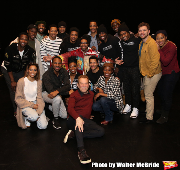 Des McAnuff, James Harkness, Derrick Baskin, Jeremy Pope, E. Clayton Cornelious, Jawan M. Jackson and Ephraim Sykes with cast