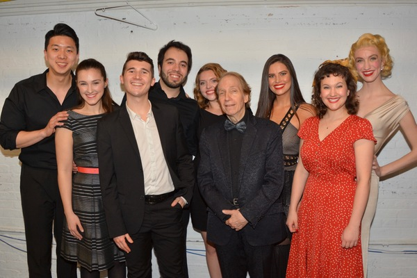 Scott Siegel with the Broadway By The Year Chorus that includes- Stephanie Bacastow, Oakley Boycott, Emma Camp, Pedro Coppeti Madeline Halet, Emily Janes, Dongwoo Kang and Matt Weinstein
