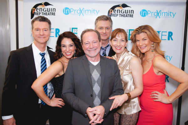 Playwright Michael McKeever (center) with the cast of AFTER:  Bill Phillips, Jolie Curtsinger, Michael McKeever, Michael Frederic, Denise Cormier, Mia Matthews. Photo credit: NMX Photo.jpg