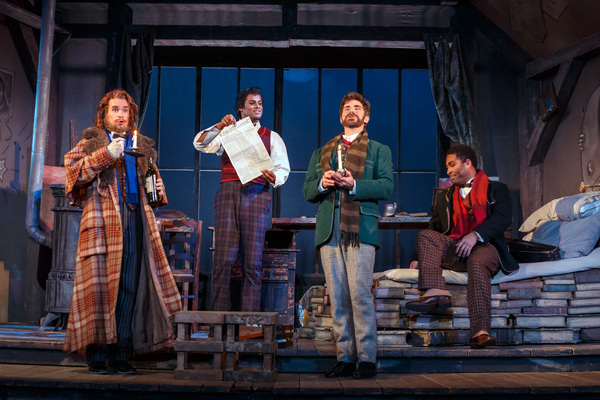 "the four bohemians â€"" (left to right) Colline (Tyler Zimmerman), Rodolfo (Sean Panikkar), Marcello (Craig Verm), and Schaunard (Ben Taylor)"