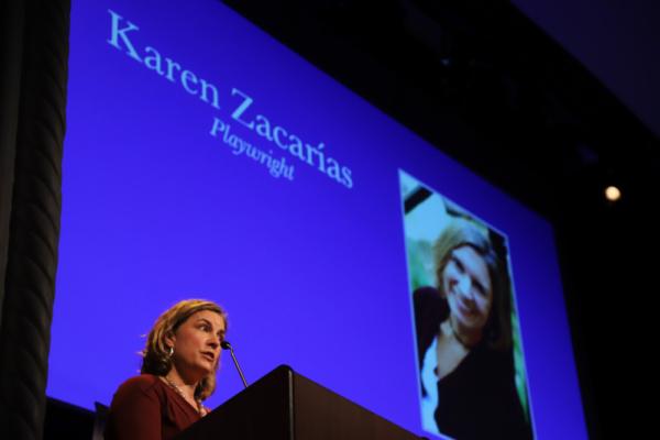 Karen Zacarias accepting The Lee Reynolds Award.     Photo credit: Karin Shook
