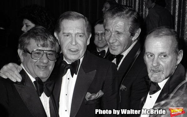 Buddy Hackett, Milton Berle, Jan Murray and Bob Fosse attending the Friars Club Roast for Buddy Hackett at the New York Hilton on November 1, 1981 in New York City.