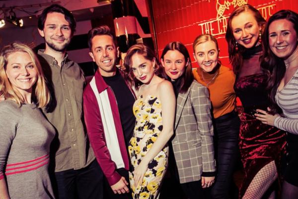 The cast of Half A Sixpence Emma Williams, Alex Hope, Nick Butcher, Louisa Connolly-Burnham, Rebecca Jane Davis, Bethany Huckle, Jennifer Louise Jones and Devon-Elise Johnson.