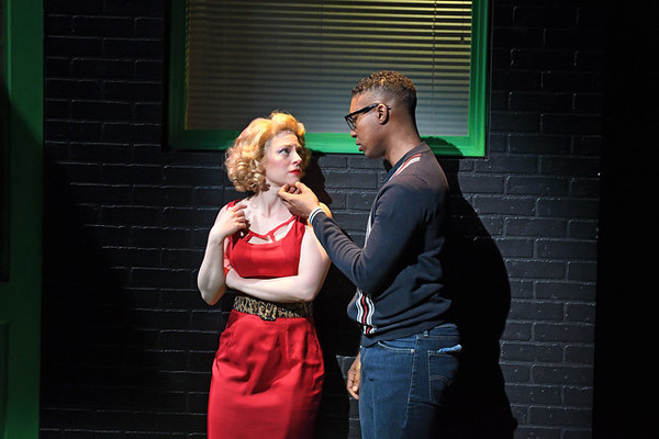 Rebecca Gibel as Audrey and Jude Sandy as Seymour. Photo