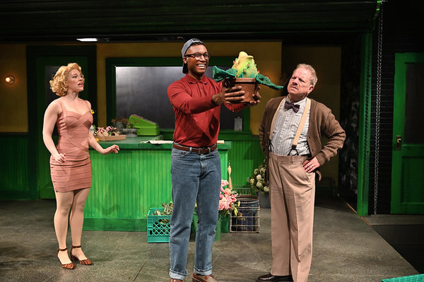 Rebecca Gibel (left) as Audrey, Jude Sandy as Seymour, and Stephen Berenson as Mr. Mushnik