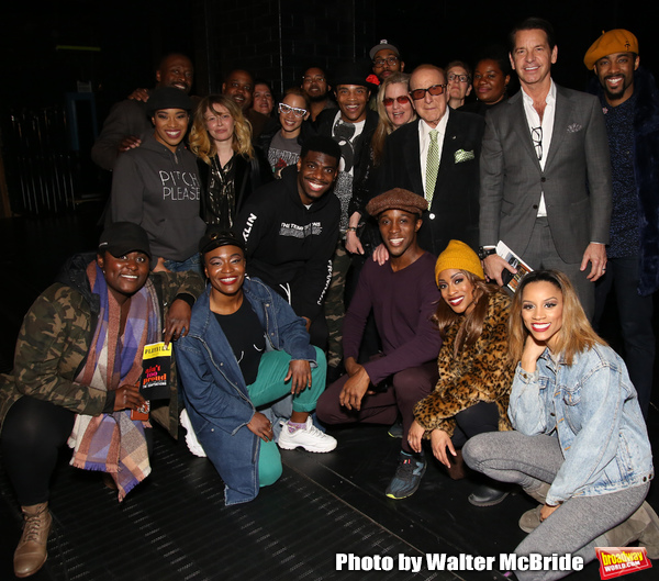 Danielle Brooks, Natasha Lyonne, Dascha Polanco and Clive Davis with the cast and crew