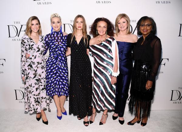 Allison Williams, Katy Perry, Talita von Furstenberg, Diane von Furstenberg, Arianna Huffington and Anita Hill