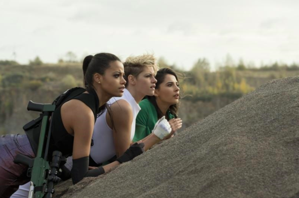 Ella Balinska, Kristen Stewart and Naomi Scott