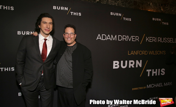 "Adam Driver and Michael Mayer attends the Broadway Opening Celebration for Landford Wilson's ""Burn This""  at Hudson Theatre on April 15, 2019 in New York City."