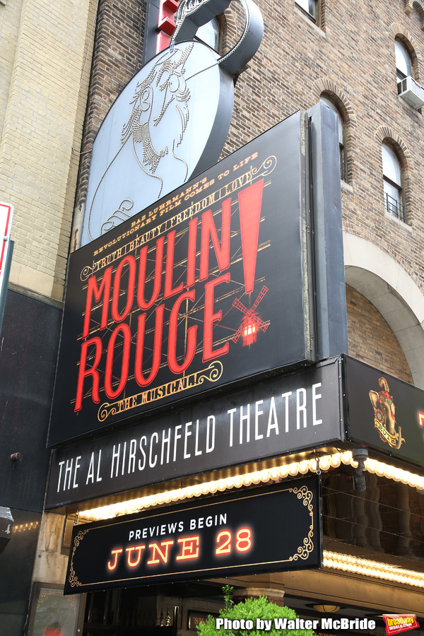 "Theatre Marquee unveiling for ""Moulin Rouge! The Musical"", based on the Baz Luhrmann movie, starring Karen Olivo, Aaron Tveit and Danny Burstein at the Al Hirschfeld Theatre on April 17, 2019 in New York City."