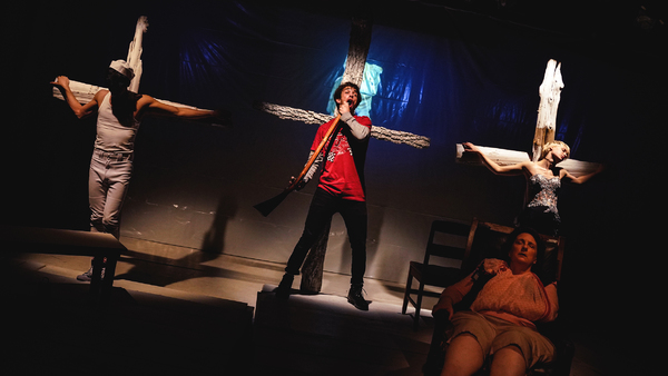 Jose Useche, Jake Horowitz and Nancy McArthur in Jean Claude van Itallie's THE FAT LADY SINGS directed by David Schweizer at La Mama ETC. Photo by Carlos Cardona.