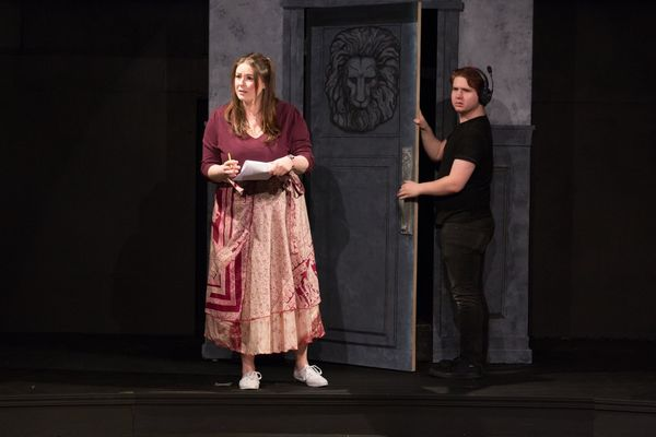 """(L to R) BRITTANY GRIFFINS (M.J.) and TYLER PETTY (Bart) from the Lakewood Playhouse Production of  """"INSPECTING CAROL"""""""