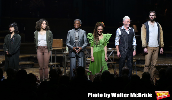 Eva Noblezada, Afra Hines, Andre De Shields, Amber Gray, Patrick Page and Timothy Hughes