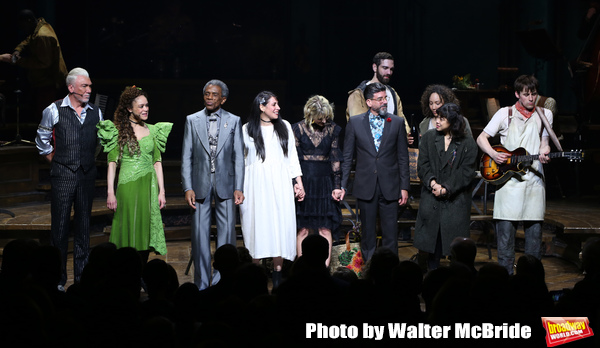 Patrick Page, Amber Gray, Andre De Shields, Rachel Clavkin, Anais Mitchell, David Neumann, Eva Noblezada, Reeve Carney, Afra Hines and Timothy Hughes with cast