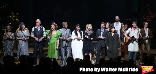 Patrick Page, Amber Gray, Andre De Shields, Rachel Clavkin, Anais Mitchell, David Neumann, Eva Noblezada, Reeve Carney and Timothy Hughes with cast