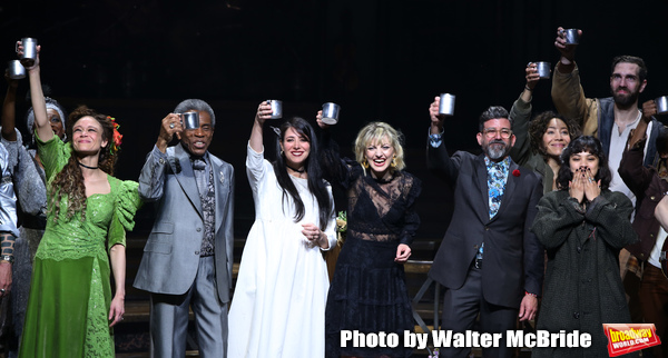 Amber Gray, Andre De Shields, Rachel Clavkin, Anais Mitchell, David Neumann, Eva Noblezada, Afra Hines and Timothy Hughes with cast