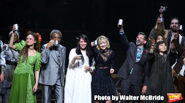 Amber Gray, Andre De Shields, Rachel Clavkin, Anais Mitchell, David Neumann, Eva Noblezada and Timothy Hughes with cast