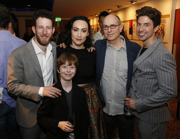 "From left, cast members Nick Blaemire, Thatcher Jacobs, Eden Espinosa, co-writer/director James Lapine and cast member Nick Adams after the opening night performance of �""Falsettos"" at Center Theatre Group/Ahmanson Theatre on April 17, 2019 in Los Ange"
