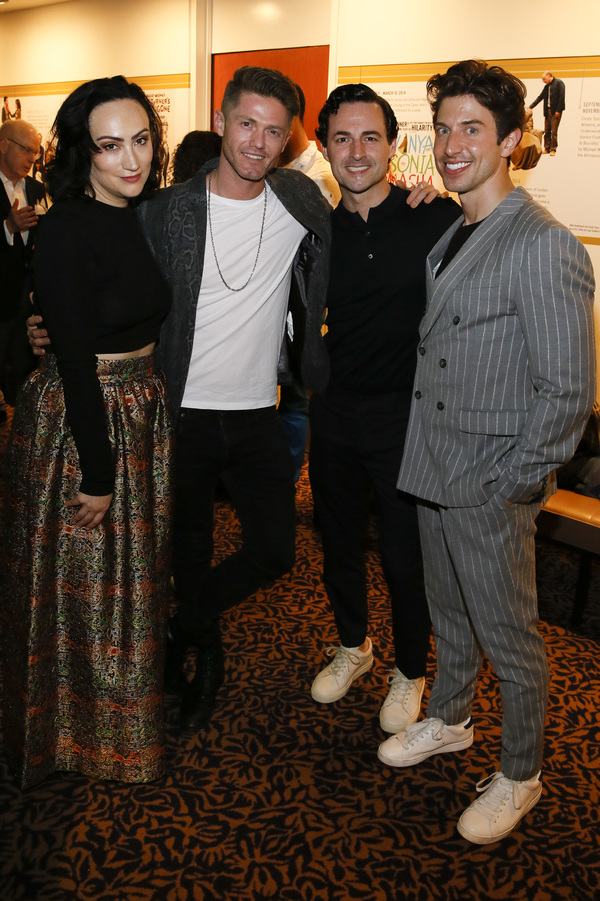 "From left, cast member Eden Espinosa, choreographer Spencer Liff and cast members Max von Essen and Nick Adams after the opening night performance of �""Falsettos"" at Center Theatre Group/Ahmanson Theatre on April 17, 2019 in Los Angeles, California. (P"