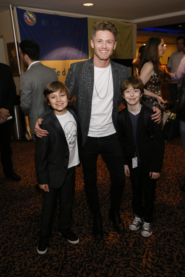 """From left, cast member Jonah Mussolino, choreographer Spencer Liff and cast member Thatcher Jacobs after the opening night performance of """"Falsettos� at Center Theatre Group/Ahmanson Theatre on April 17, 2019 in Los Angeles, California. (Photo by Ryan"""
