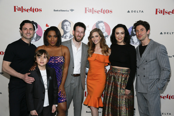 """From left, cast members Max von Essen, Jonah Mussolino, Bryonha Marie Parham, Nick Blaemire, Audrey Cardwell,  Eden Espinosa and Nick Adams attend the opening night performance of """"Falsettos� at Center Theatre Group/Ahmanson Theatre on April 17, 2019"""
