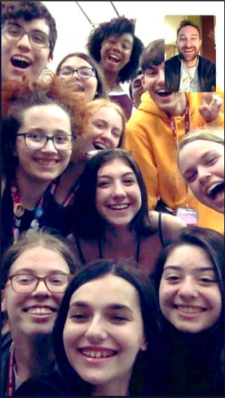 Rokicki posing on Skype with Douglas Drama students.