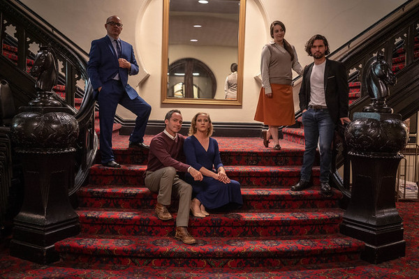 Jon Van Middlesworth (Toby), Christopher Marshall (George), Emily Belvo (Hedda), Katie Miesner (Thea), and Joseph Michael-Kenneth (Eli)