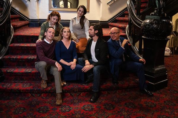 Christopher Marshall (George), Katrina Stevenson (Julia), Emily Belvo (Hedda), Katie Miesner (Thea), Joseph Michael-Kenneth (Eli), and Jon VanMiddlesworth (Toby)