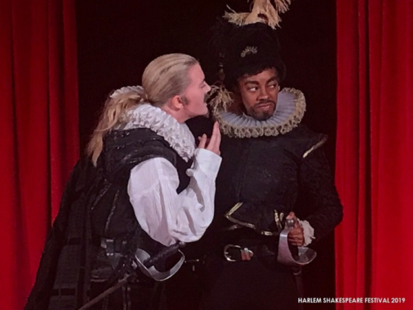 Ella Loudon as IAGO and Ryan L. Jenkins as RODERIGO in Harlem Shakespeare Festival''s all-female OTHELLO presented by Southwest Shakespeare Company. Spring 2019.