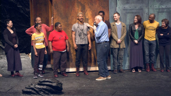 Photo of the cast of The Oresteia and Director Michael Kahn in rehearsal. Photo