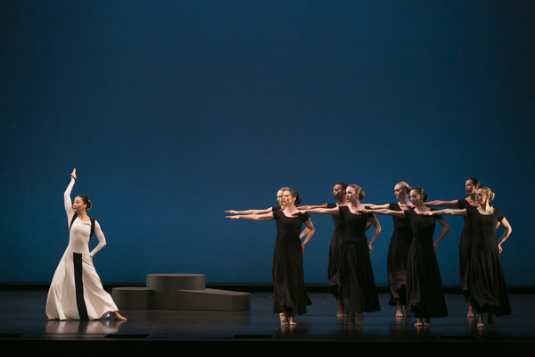 Xin Ying (soloist) and company in Martha Graham's Chronicle. Photo by Melissa Sherwood.