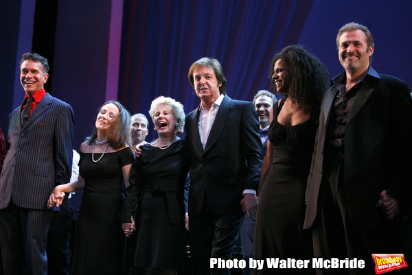 Brian Stokes Mitchell, Emily Loesser, Jo Sullivan Loesser, Paul McCartney, Audra McDonald, Marc Kudisch, Patrick Wilson at The Curtain Call for Chance & Chemistry: A Centennial Celebration of Frank Loesser- an Actors Fund Benefit at the Minskoff Theatre i