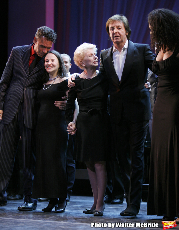 Brian Stokes Mitchell, Emily Loesser, Jo Sullivan Loesser, Paul McCartney, Audra McDonald at The Curtain Call for Chance & Chemistry: A Centennial Celebration of Frank Loesser- an Actors Fund Benefit at the Minskoff Theatre in New York City. October 26, 2