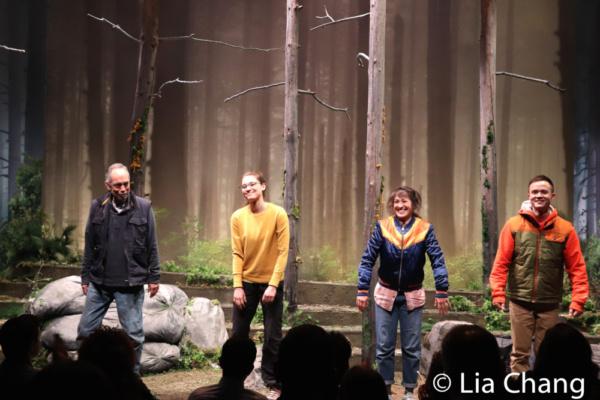 FRUITING BODIES cast members Thom Sesma, Emma Kikue, Kimiye Corwin and Jeffrey Omura during their opening night curtain call