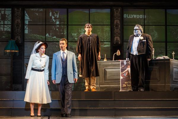 Norina (Lisette Oropesa), Dr. Malatesta (Joshua Hopkins), the Notary (Tyler Zimmerman) and Don Pasquale (Kevin Glavin) hear a commotion
