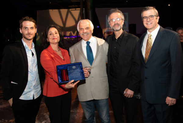 Wilbury Artistic Director Josh Short, Phyllis Kay, honoree Richard Donelly, Gamm Theatre Artistic Director Tony Estrella, and Jim O''Brien at FUN(d) HOME The 2019 Wilbury Group Gala; photo by Erin X. S