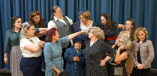 The all-female (bar one) cast of Twelve Angry Jurors: Hettie Lobegeiger, left, Amy Swerlowycz, Lisa MacDonald, Lis Hoffmann, Trish Zanetti, Mike Moshos, Janet Pusey, Julie Holmshaw, Andrea O'Donnell, Jenny Smith, Ashlee McKenna and Jenny Smith.