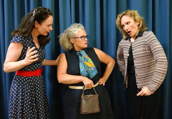 Andrea O'Donnell, left, Viviane Testa and Jenny Smith have a heated exchange I Twelve Angry Jurors.
